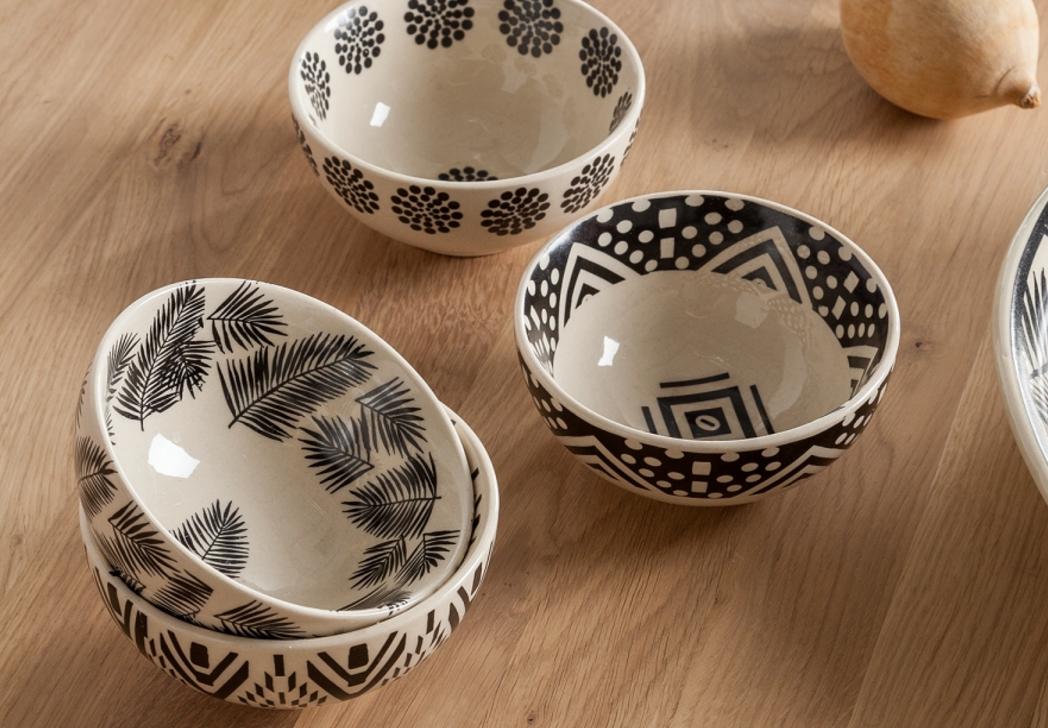 sch ssel vauvert 4er set keramik schwarz wei 7roomz. Black Bedroom Furniture Sets. Home Design Ideas
