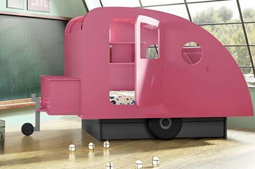 rosa Wohnwaagen Kinderbett