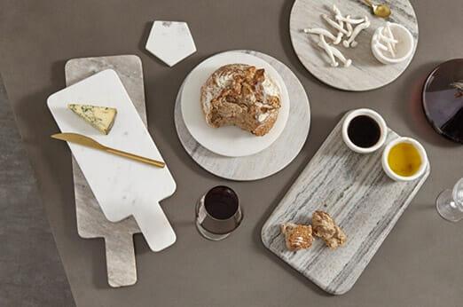 Sienna Set aus 2 Servierplatten aus Marmor