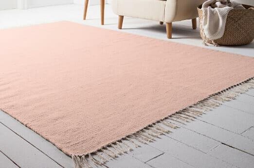 Teppich Fil Wolle Rosé