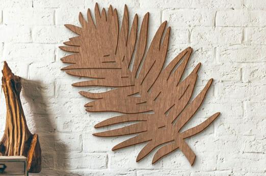 Holzkunst Mahagoni Blatt Palme