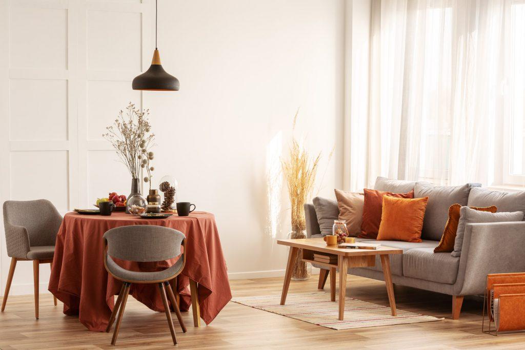 Herbstfarbe Orange Wohn-Esszimmer Galerie1