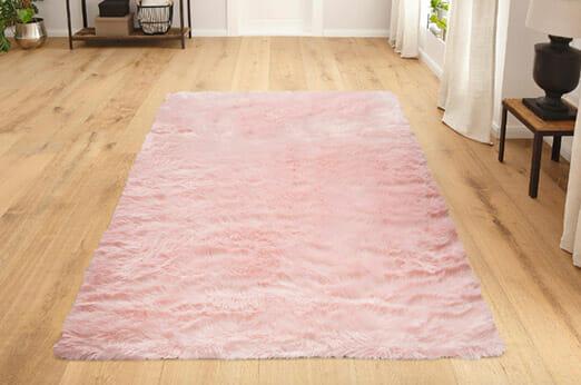 Hochflor Teppich Dena rosa