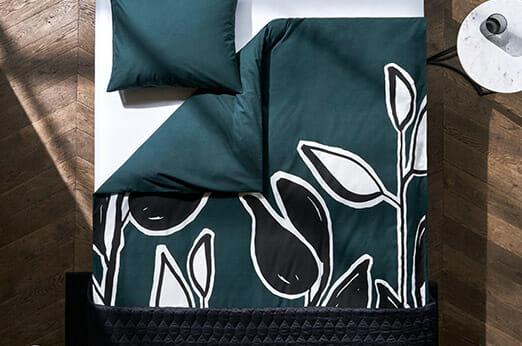 Bedruckte Bettwäsche dunkelgrün blatt