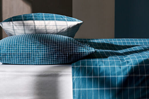 Bettwäsche aus Baumwolle Türkis Kariert