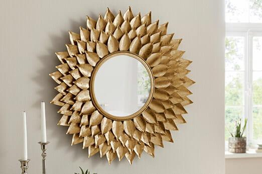 Spiegel mit Blattgold-Finish gold