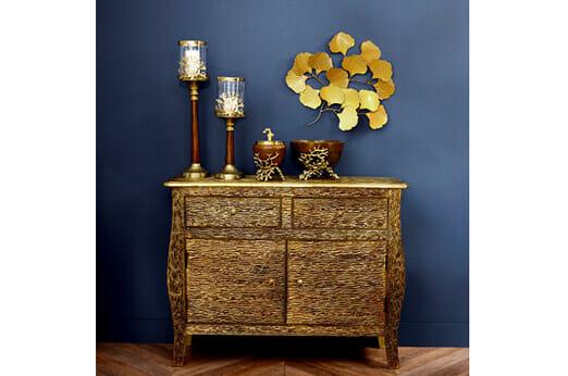 Wanddeko Blätter gold