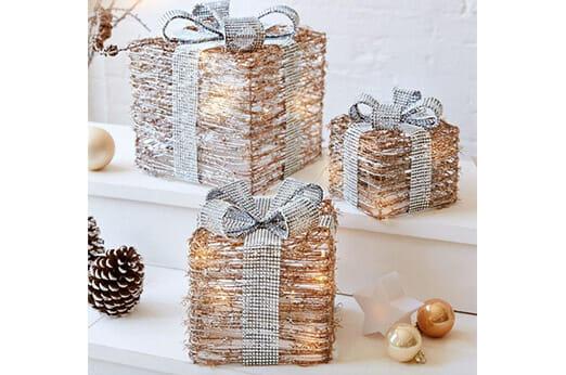 Deko Geschenke mit LEDs 3-teilig silber