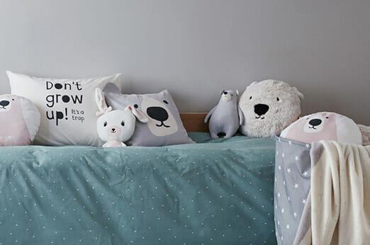 Kissenhülle aus Baumwolltwill Eisbär hellgrau