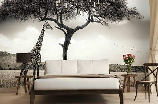 Fototapete Giraffen Safari schwarz/weiß