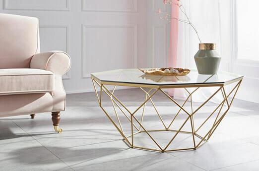 Couchtisch Caen Glas & Metall gold