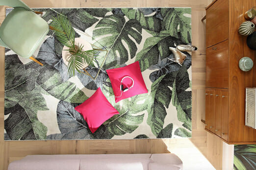 Teppich Tabani Dschungel-Motiv grün