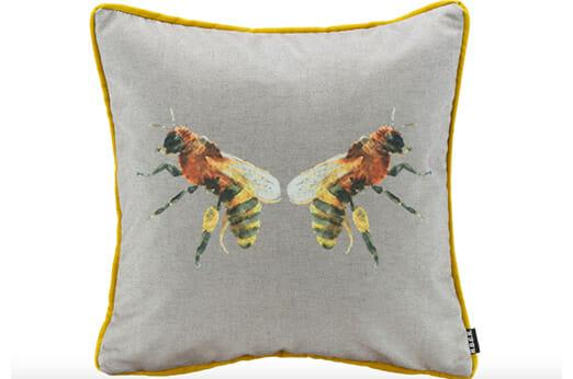 Kissen Bugs »Biene« grau/gelb