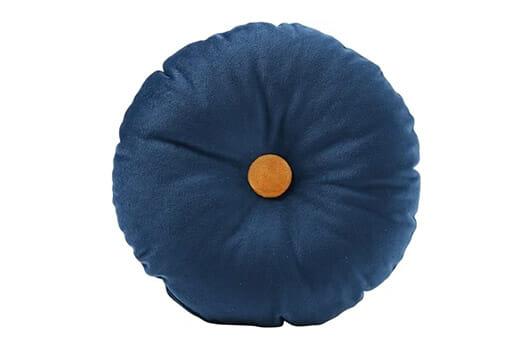 Kissen Rund Samt Blau