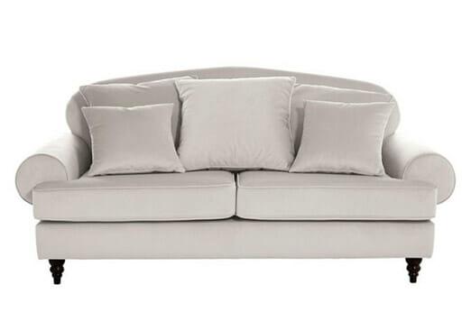 2-Sitzer Sofa Bezug Samt Weiß