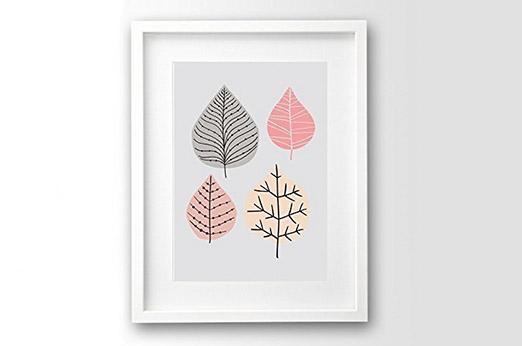 Skandinavischer Kunstdruck Blätter retro rosa grau