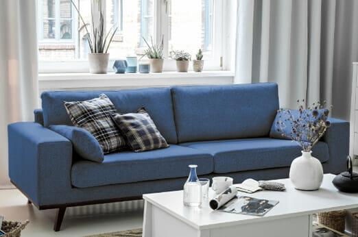Sofa Billund (3-Sitzer) Strukturstoff blau