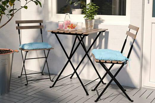 Gartenklapptisch- und 2 Stühle, blau