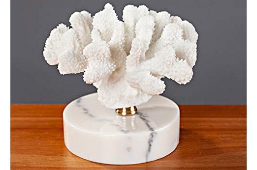 Koralle Deko - Objekt marmor weiß
