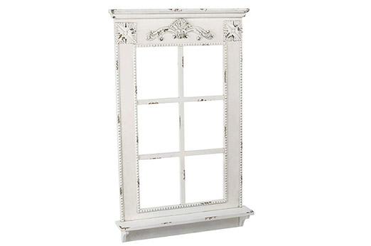 Deko Fenster mit Fensterbank Antik-Finish weiß