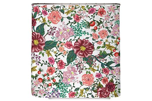 Duschvorhang Blumen Rosen 180x200 rot rosa