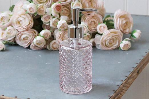 Seifenspender mit Karo Muster Glas Rosa