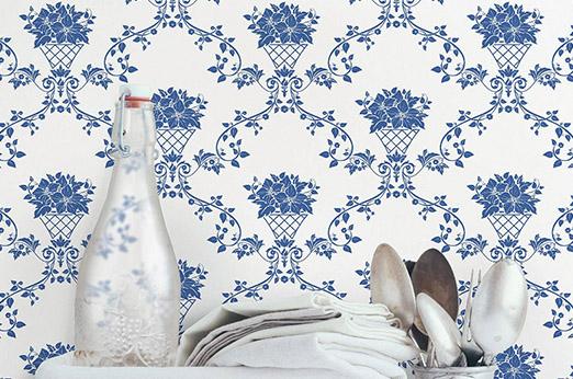Blumenkorb Tapete blau