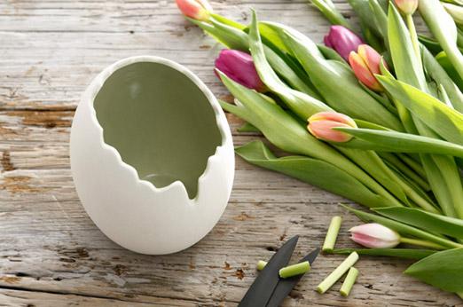 Vase in Eierform weiß