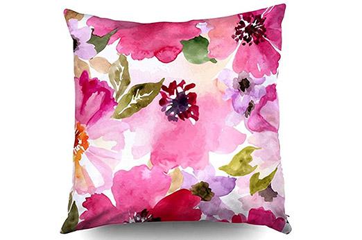 Aquarell Blumen Kissen Rosa Pink