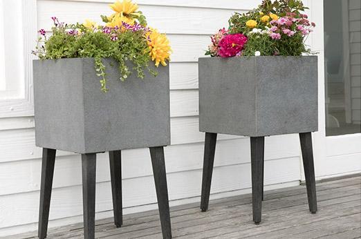 Blumenkübel Cambria Beton grau schwarz