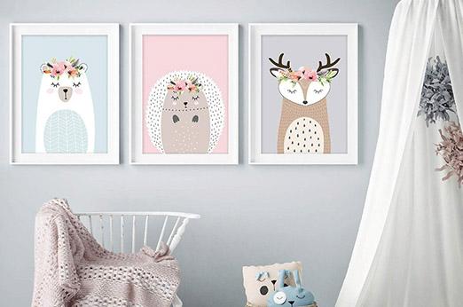 3er-Set A4 Poster Waldtiere Pastell Bär,Hirsch,Igel