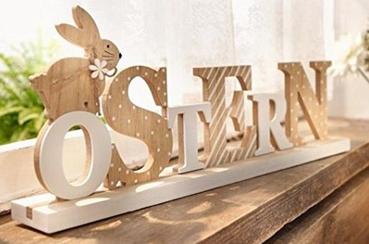 Deko Schriftzug Ostern Natur Holz