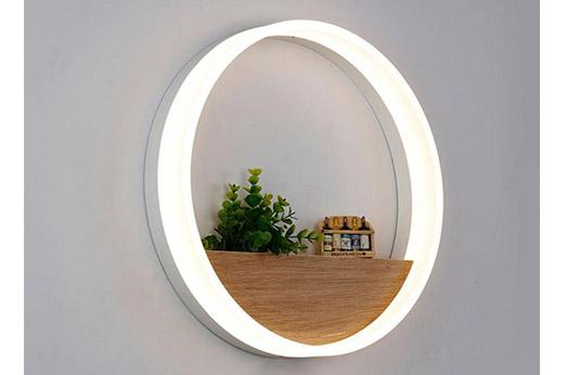 LED Wandleuchte Rund Weiß / holz natur