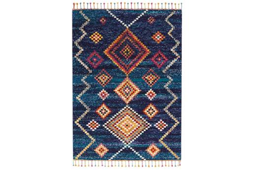 Teppich Nomad mit Fransen Blau