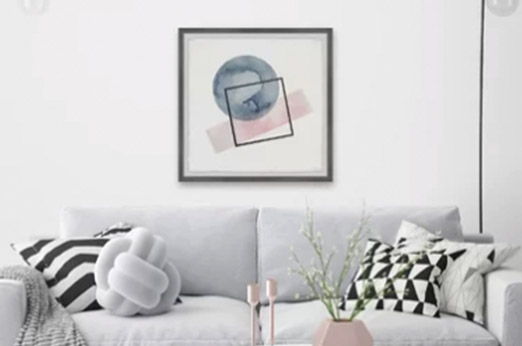 Gerahmtes Poster Undecided Shapes von Parvez Taj blau rosa