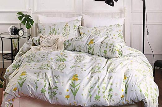 Bettwäsche Set Blumen Botanisch Pflanze grün gelb