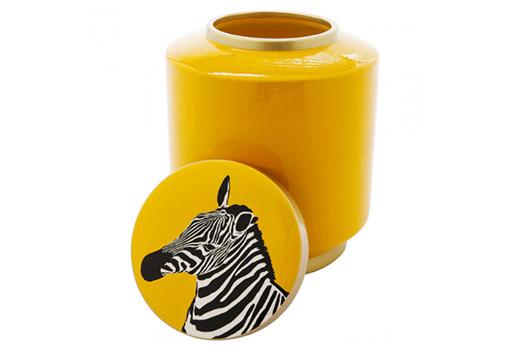 Deko Gefäss Zebra gelb 25cm