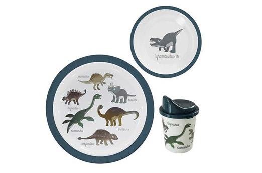 Geschirrset Dinosaurier Graublau 3-teilig