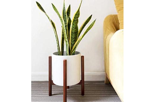 Mid-Century Modern Pflanzenständer weiß braun