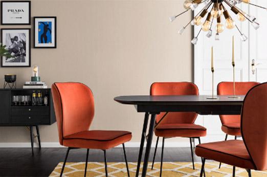 Polsterstuhl Adeele (2er-Set) Terracotta orange