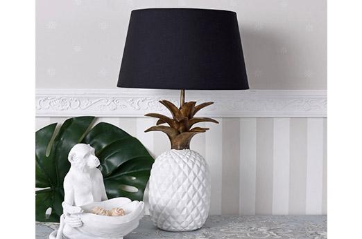 Tischleuchte Ananas Gold weiß
