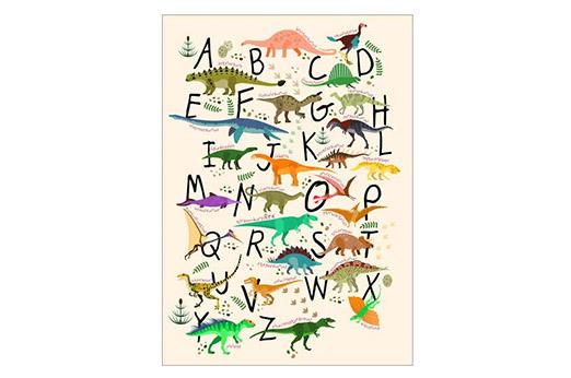 Poster Dino-Alphabet bunt