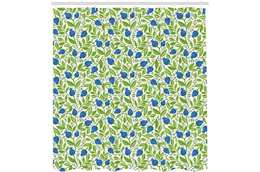 Duschvorhang Blaubeeren Violettblau Lindgrün