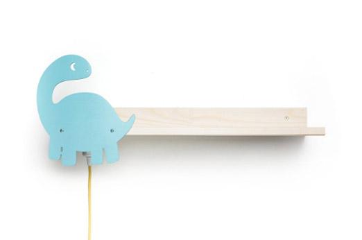 "Wandregal mit Leselampe Holz ""Dinosaurier"" blau"