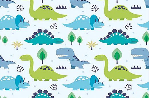Tapete Dinosaurier blau grün