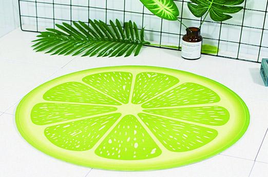 Badematte rund Limette grün Früchte