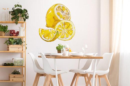 Wandtattoo Zitronen gelb Früchte