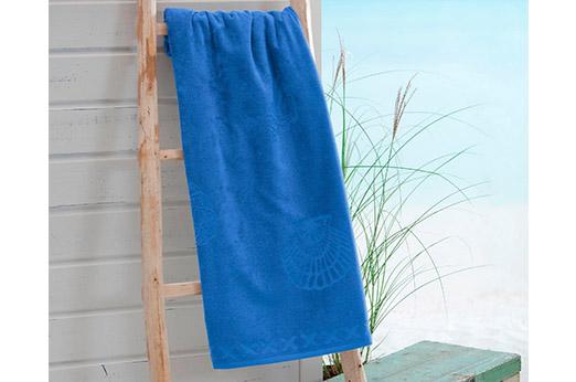Strandtuch Muscheln blau