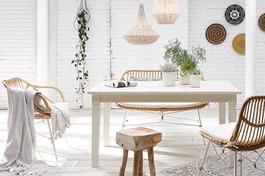 Stuhl aus Rattan »Sitka« natur weiß