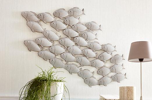 Wanddekoration Fischschwarm grau